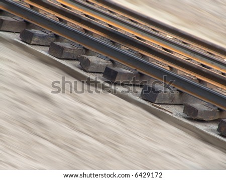 The fragment a railway. Incline railroad tracks. - stock photo
