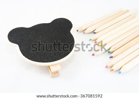 The frame as a bear with color pencil on white background - stock photo