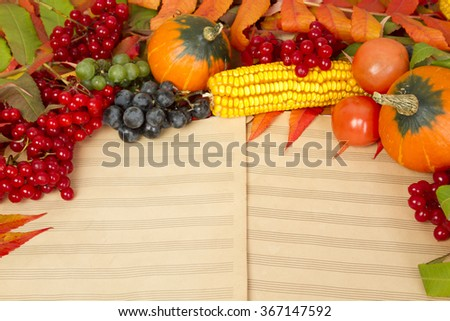 The frame of the gifts of autumn pumpkins, corn, fall leaves, tomatoes, red berry cranberry and grapes are in the old printed music sheets - stock photo