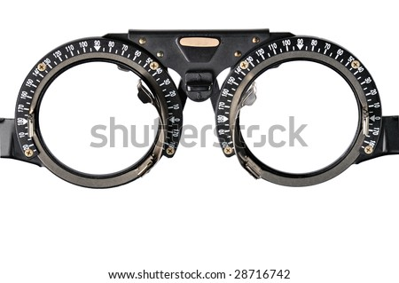 The frame to adjust the lens optometry - stock photo
