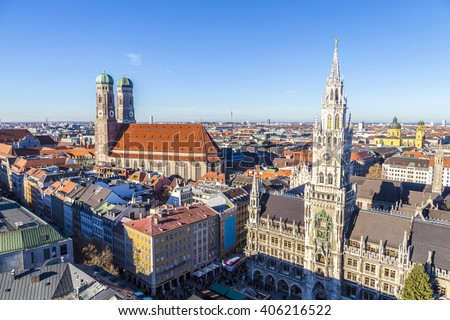 The Frauenkirche is a church in the Bavarian city of Munich that serves as the cathedral of the Archdiocese of Munich and Freising and seat of its Archbishop. - stock photo