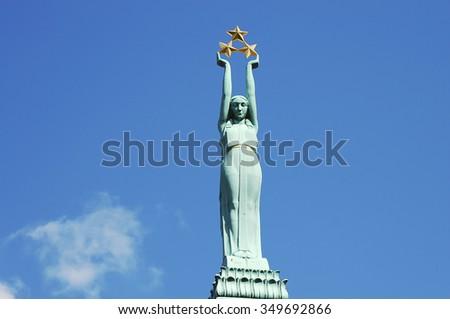 The Freedom Monument - Riga - Latvia - stock photo