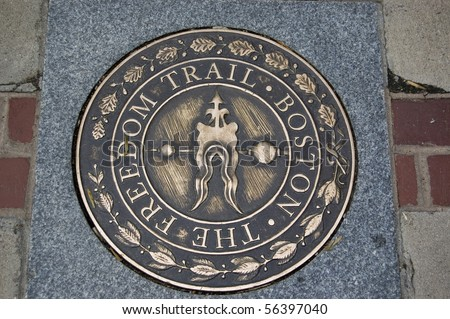 The freedom Trail sign in Boston, Usa