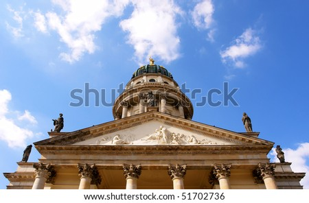 the French Cathedral dome detail, Gendarmenmarkt square, Berlin