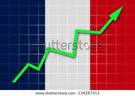 The French flag and arrow graph going up