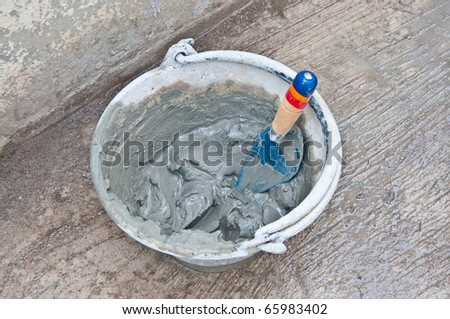 The Fresh cement on under construction - stock photo