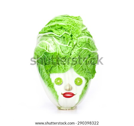 The fresh chinese cabbage which look like human head  on a white background - stock photo