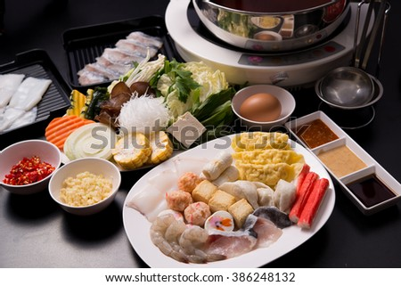 The Fresh food for hot shabu on a table.