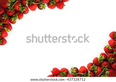 Fresh Strawberries Frame On White Background Stock Photo (Royalty ...