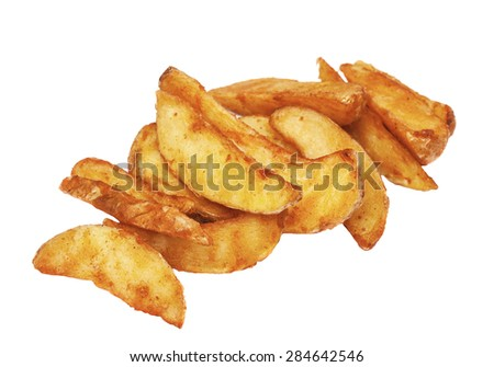 The fried rural potatoes isolated on the white - stock photo