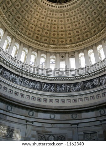 The frieze of the Rotunda of the United States Capitol. - stock photo