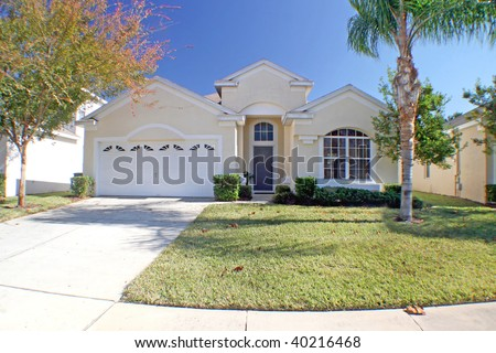 The Front Exterior of a Florida Home - stock photo