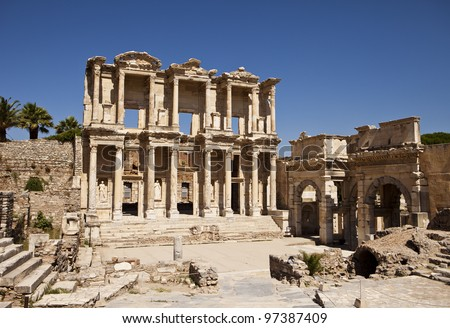 The front facade and courtyard of the Library of Celsus at Ephesus is an ancient Greek and Roman structure. Reconstructed by archaeologists from old stones, it is near the city of Izmir in Turkey. - stock photo