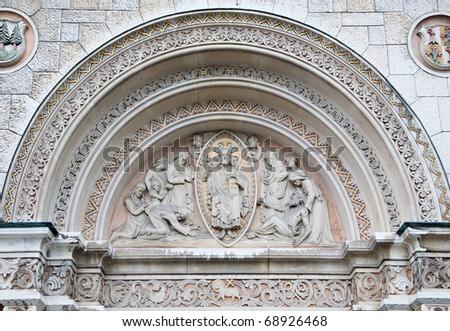 The front facade of the large, ornate cathedral in Olten Switzerland - stock photo