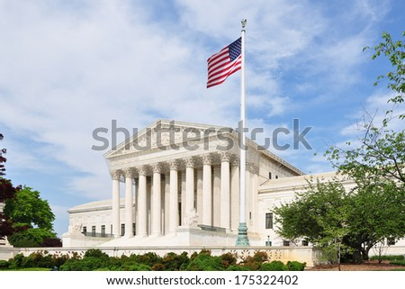 The front facade of the United States Supreme Court in Washington, DC, USA.  - stock photo