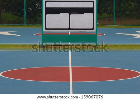 The front lines of the basketball court. - stock photo