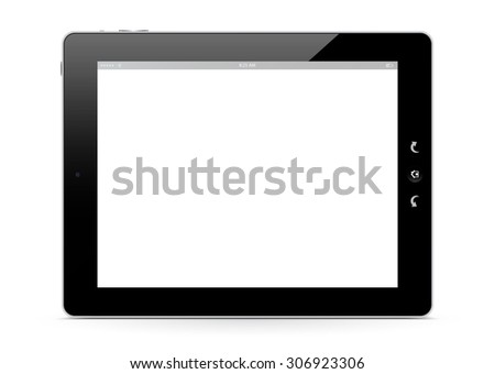 The Front of a E-Book Reader on White Background with Smooth Shadow on the Ground. White Free Advertising Space for Your Own Text or Graphic. With Black Shiny Frame. Graphic Illustration - stock photo