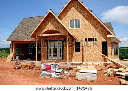 The front of a house under construction.