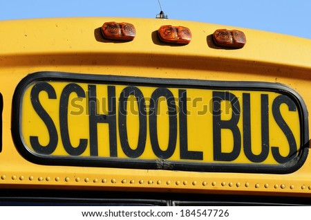 the front of a yellow school bus