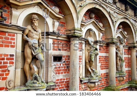 The front part of Frederiksborg Palace or Castle, a palace in Hillerod, Denmark. Former royal residence for King Christian IV and now a museum of national history. - stock photo