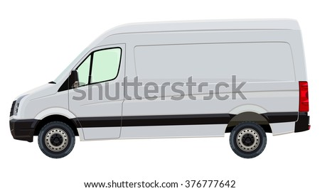 The front side of the light commercial vehicle on a white background - stock photo