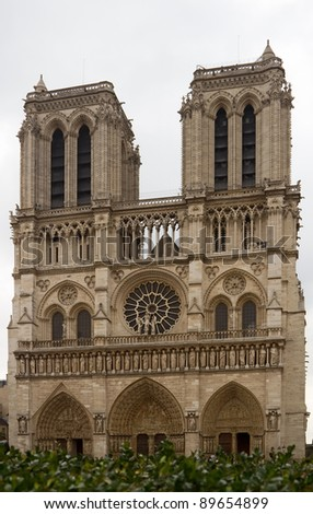 The front side of the Notre-Dame (Our Lady's), Paris