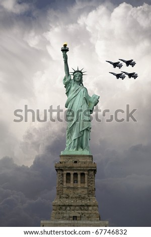 The front view of the statue of liberty with fighter planes racing across the sky behind this great New York City Monument