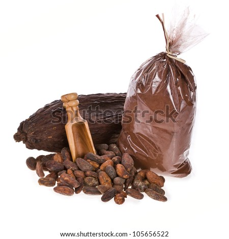 the fruit of the cocoa. cocoa beans and cocoa powder, ground ready to pack isolated on white background - stock photo