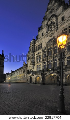 The Fuerstenzug (giant mural) and the Schlossplatz, Dresden, Germany - stock photo
