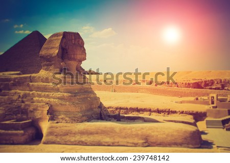 The full profile of the Great Sphinx with the pyramid in the background in Giza. Fantastic evening glowing by sunlight.  Filtered image:cross processed lomo effect.  - stock photo
