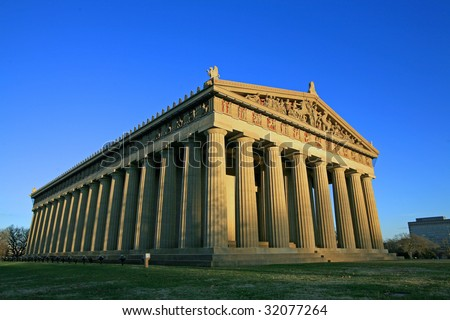 The full size replica of the Parthenon in Nashville Tennessee - stock photo