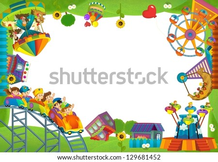 The funfair - playground - the framing for misc usage - illustration for the children - stock photo