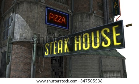 "The futuristic building with a sign ""Steak House"""