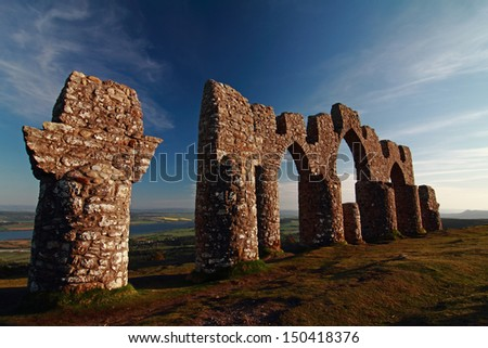 The Fyrish Monument, Cnoc Fyrish, Alness Scotland was built in 1782 on the orders of Sir Hector Munro. - stock photo