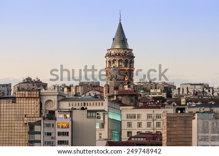 The Galata Tower is a medieval stone tower in Istanbul, Turkey - stock photo