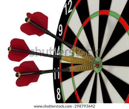 The game of darts. Darts in the center of the target. Isolated. The concept of achieving the goal