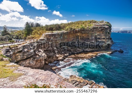 The Gap at Watsons Bay in Sydney on suny day, Australia. - stock photo