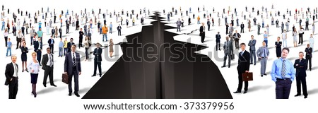 the gap between two large groups of people - stock photo