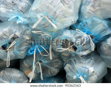 the garbage bags and wastes - stock photo
