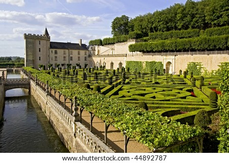 The garden and canal of Chateau de Valencay, France - stock photo