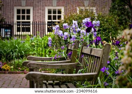 The garden of Christ Church in Philadelphia, Pennsylvania. - stock photo