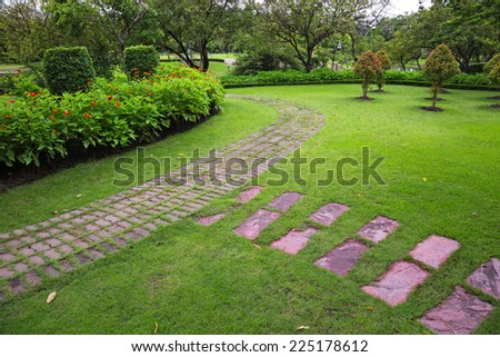 The Garden Walkway. - stock photo