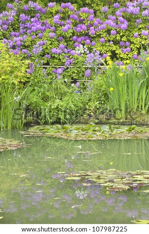 The Gardens at Giverny with Monet's Bridge and waterlilies, Giverny, France