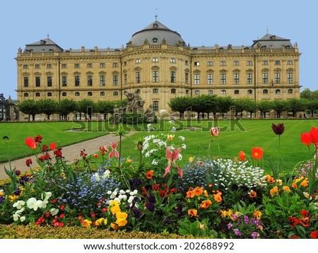 the gardens of the wurzberg residenz in wurzberg,  franconia, germany - stock photo