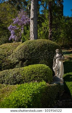 The gardens of Villa Balbianello on Lake Como in northern Italy - stock photo