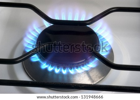 The gas butane or burning hot propane gas on a cooker - stock photo