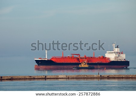 The gas carrier vessel coming into the port. - stock photo