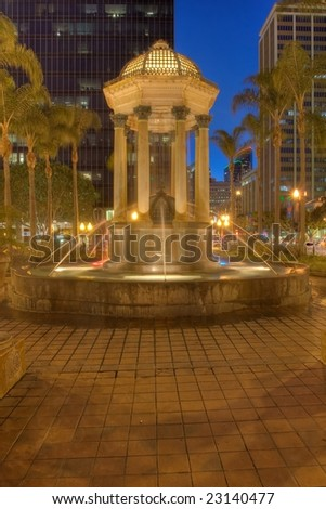 The Gaslamp Quarter is a 16 1/2 block historical neighborhood in downtown San Diego, California. - stock photo