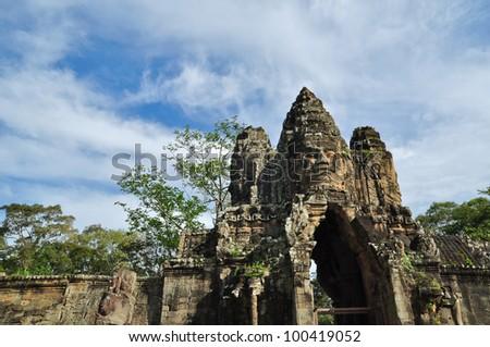 The Gate at Bayon Temple, Angkor Wat, Cambodia - stock photo