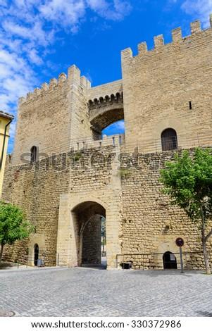 The Gate of Sant Miquel in Morella, the province of Castellon, Spain. - stock photo